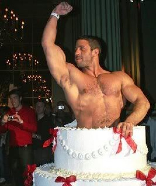 Fat naked lady holding birthday cake certainly