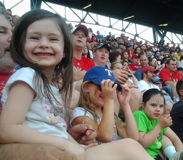 Tony, Alli, Shalee, and Rebecca at the Rangers Game 07-06-2013