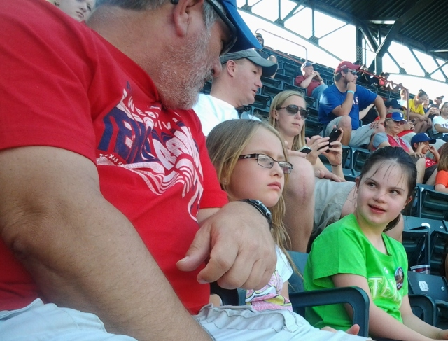 Tony, Shalee, and Rebecca at Rangers Game 07-06-2013